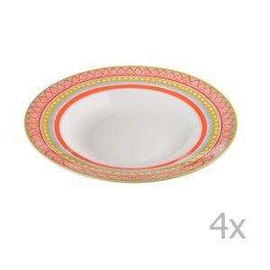 Komplet 4 talerzy porcelanowych na zupę Oilily 24,5 cm, pomarańczowy