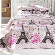 Pikowana narzuta z poszewkami na poduszki From Paris, 200x220 cm