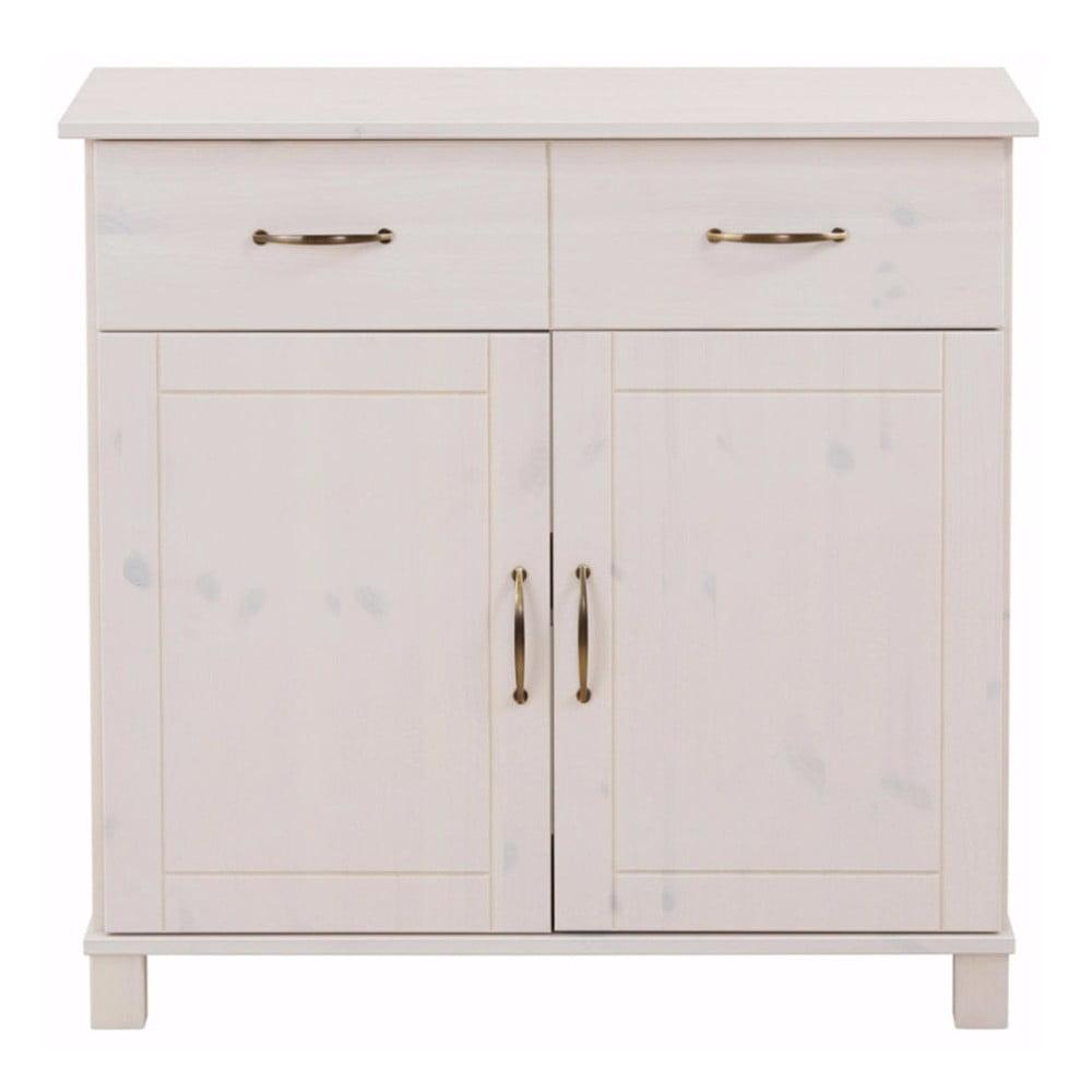 Biała komoda 2-drzwiowa z litego drewna sosnowego Støraa Pinto