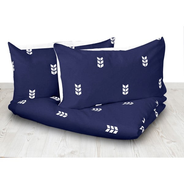 Niebieska pościel Hawke&Thorn Finch Straw, 240x220 cm + poduszka 50x60 cm
