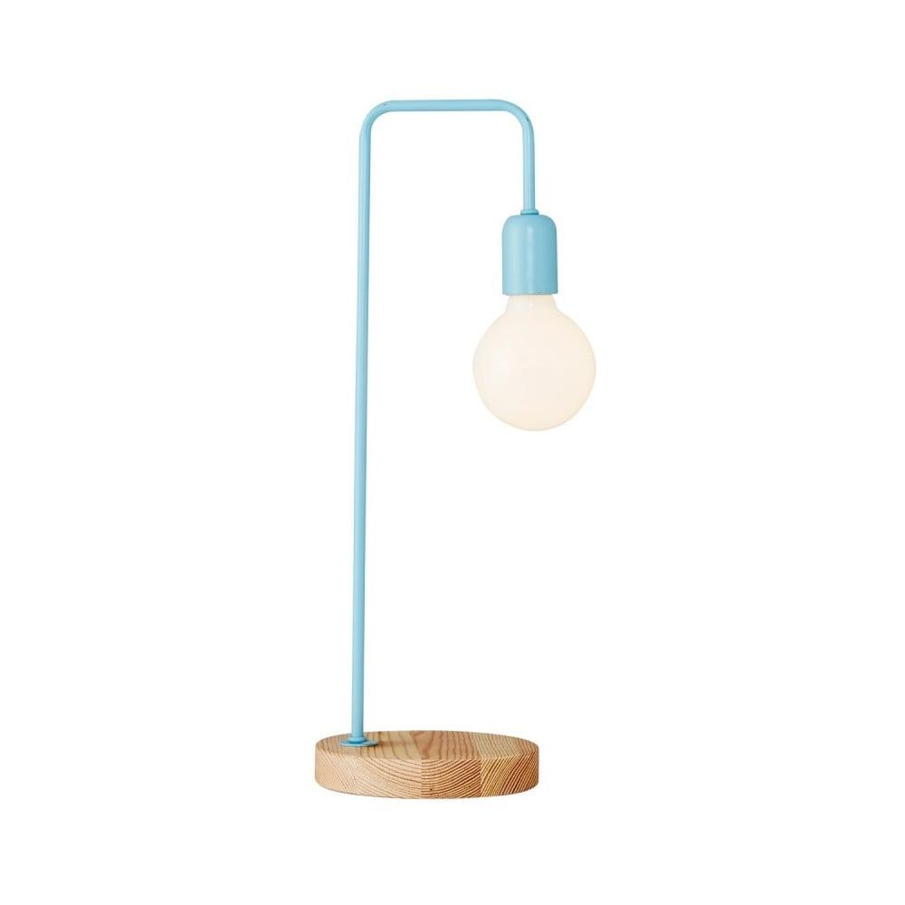 Jasnoniebieska lampa stołowa z drewnianą podstawą Valetta