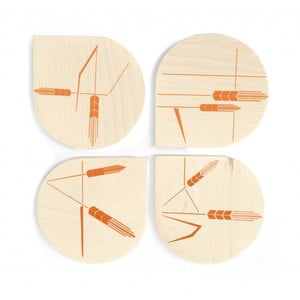 Zestaw 4 drewnianych podstawek Wheat