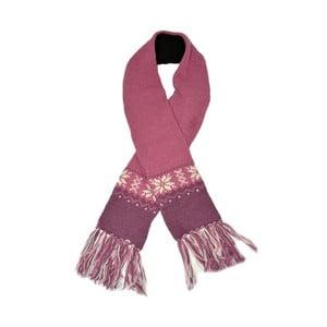 Wełniany szalik z polarową podszewką Pink Snowflake