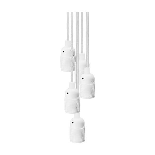 Biała lampa wisząca z 5 kablami Bulb Attack Uno Basic Unit
