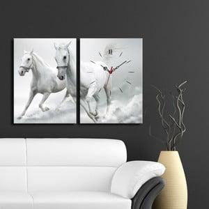 Obraz z zegarem Konie