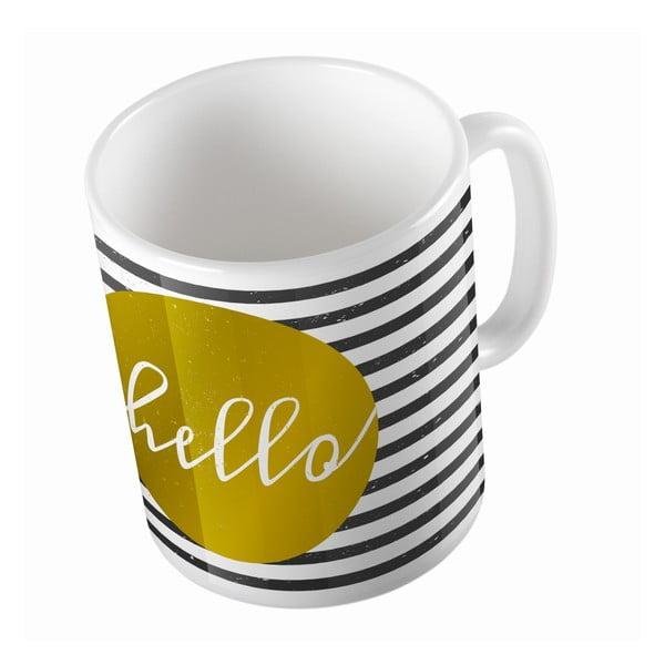 Ceramiczny kubek Striped Hello, 330 ml
