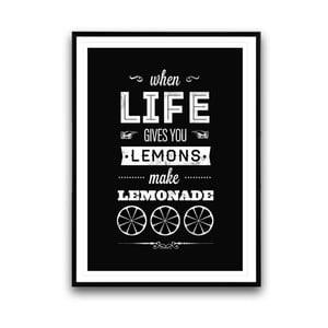 Plakat w drewnianej ramie Make lemonade, 38x28 cm
