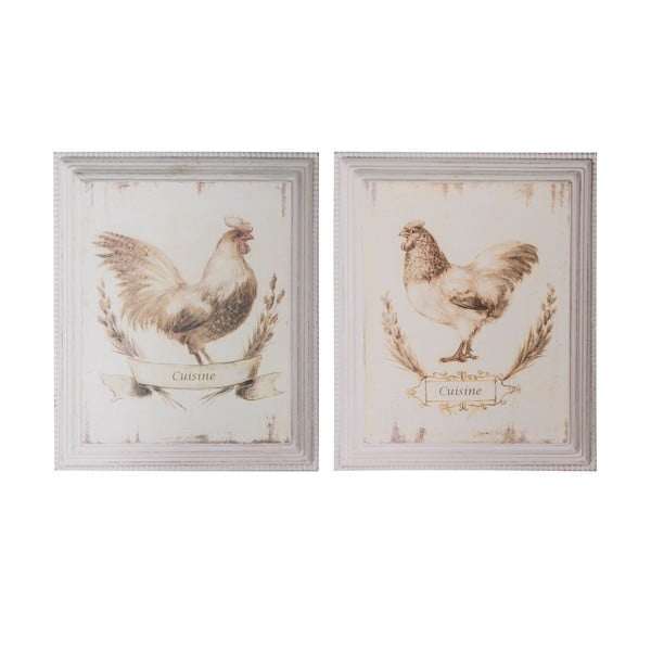 Zestaw 2 obrazków Antic Line Chicken