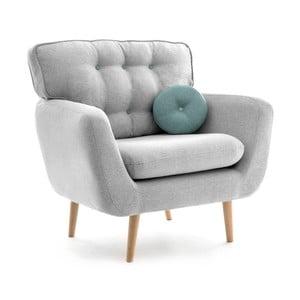 Jasnoszary fotel z niebieską poduszką VIVONITA Malva