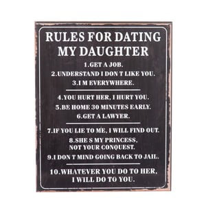 Tablica Rules for dating, 40x50 cm