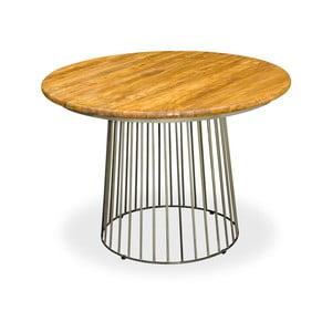 Stalowy stół z blatem z drewna mangowego Bluebone Bistro