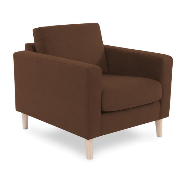 Brązowy fotel z jasnymi nogami Vivonita Tom