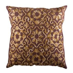 Poszewka na poduszkę, brązowa z ręcznie szytym wzorem
