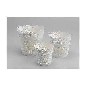 Zestaw 3 świeczników Lace White