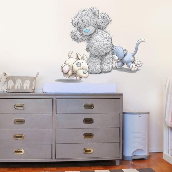 Naklejka Niedźwiadek, piesek i kotek, 70x50 cm
