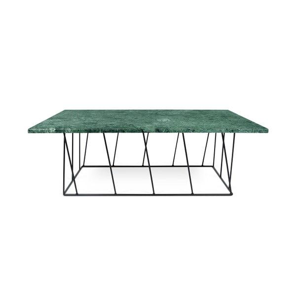 Zielony stolik marmurowy z czarnymi nogami TemaHome Helix, 120 cm