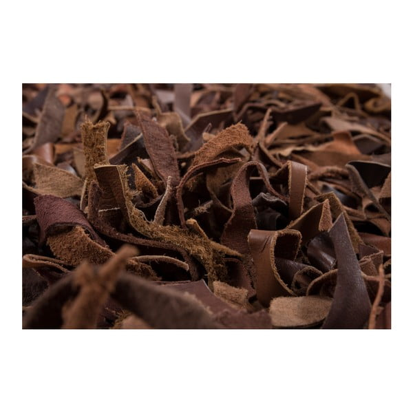 Brązowy skórzany dywan Rodeo, 80x150cm