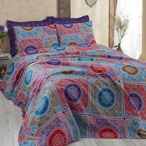 Purpurowa narzuta na łóżko dwuosobowe z prześcieradłem i poszewkami Ornament, 200x235cm