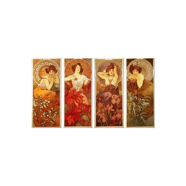 Zestaw 4 reprodukcji obrazów Alfonsa Muchy - The Precious Stones, 30x70 cm