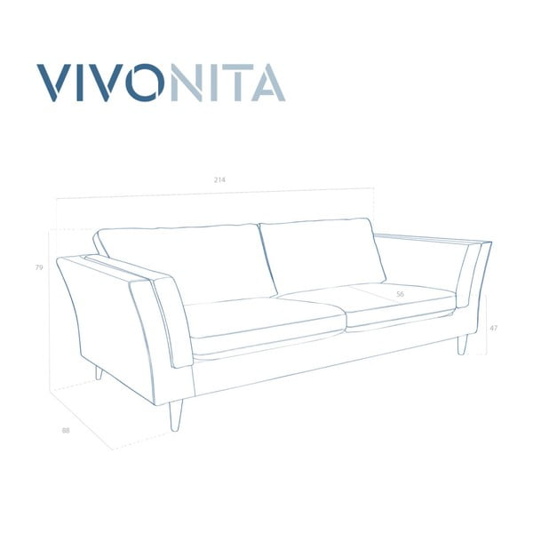 Jasnoturkusowa sofa 3-osobowa Vivonita Connor