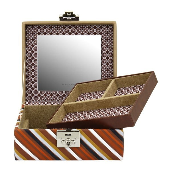 Brązowa szkatułka Friedrich Lederwaren Diagona, 17x15 cm