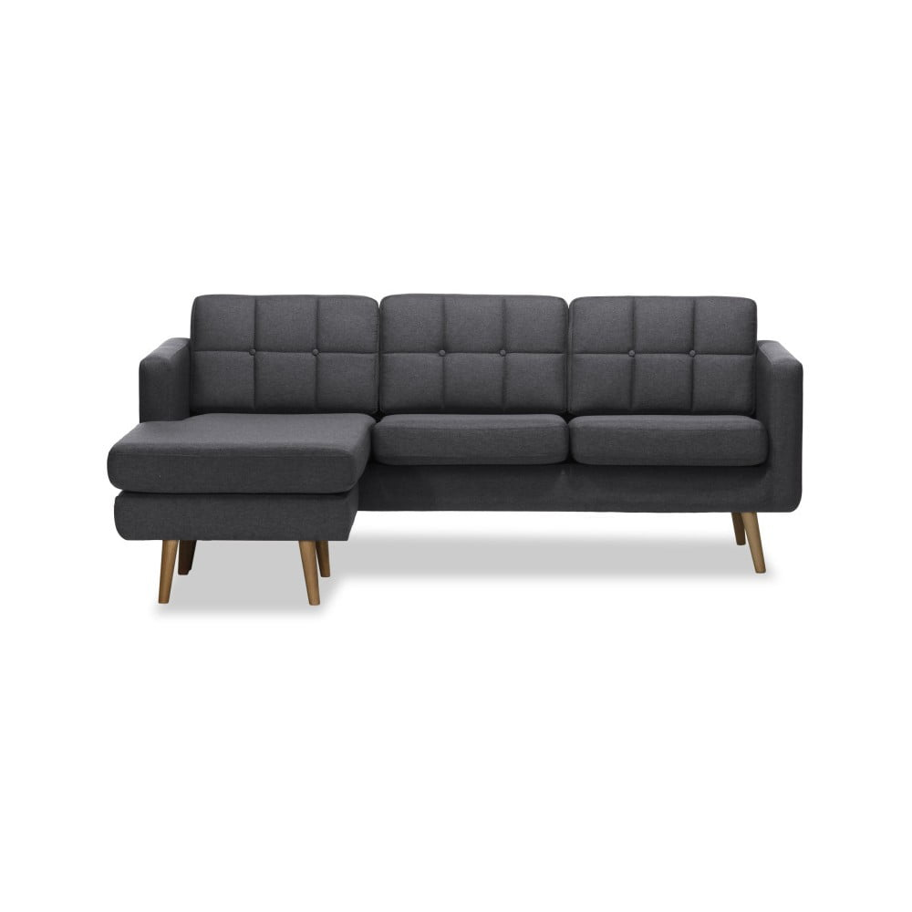 Ciemnoszara lewostronna 3-osobowa sofa narożna Vivonita Magnus