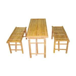 Zestaw stołu i 2 ławek z bambusu Leitmotiv