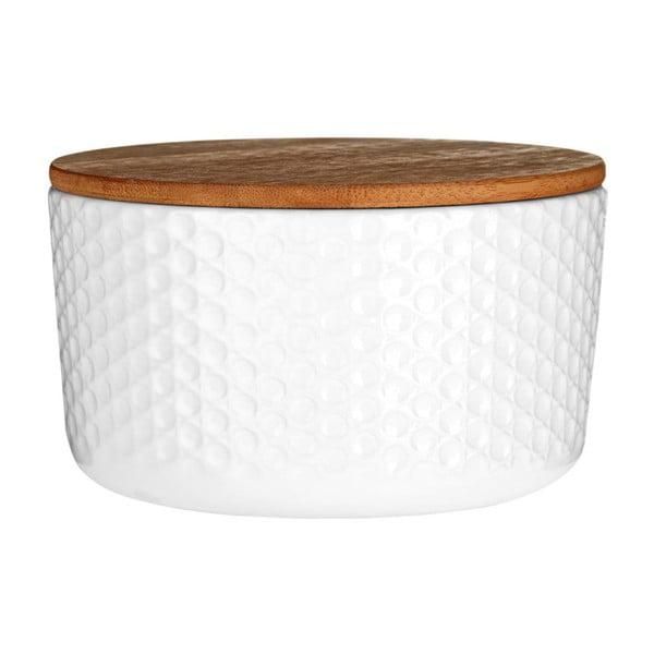 Biały pojemnik z bambusowym wieczkiem Premier Housewares White Mod, ⌀14cm