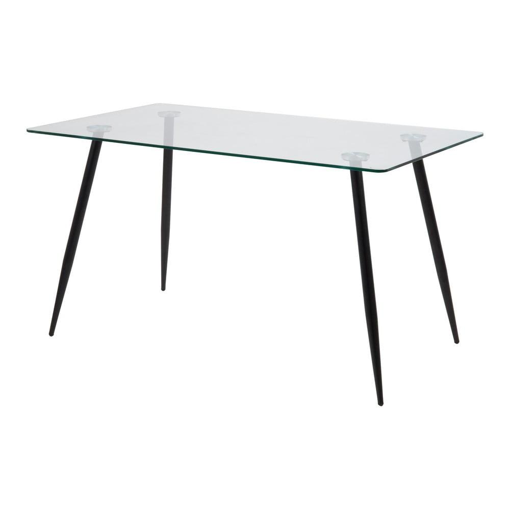 Stół ze szklanym blatem Actona Wilma, 140x75 cm
