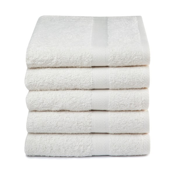 Zestaw 5 kremowych ręczników Ekkelboom, 50x100 cm