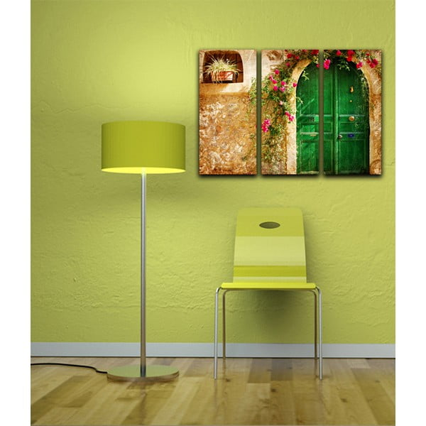 Trzyczęściowy obraz Zielone drzwi