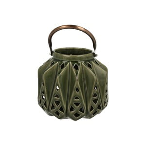Lampion ceramiczny Green Light, 16 cm