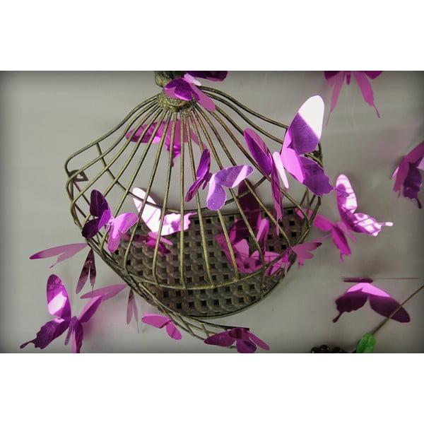 Zestaw 12 fioletowych naklejek 3D Ambiance Butterflies Purple