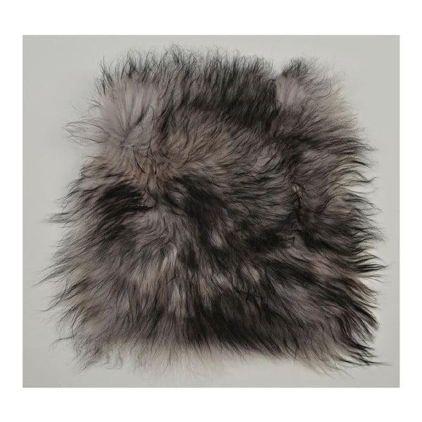 Poduszka futrzana do siedzenia z długim włosiem Silver, 37x37 cm