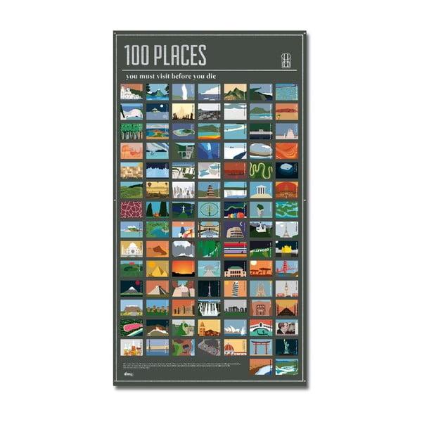 Plakat 100 miejsc, które musisz odwiedzić