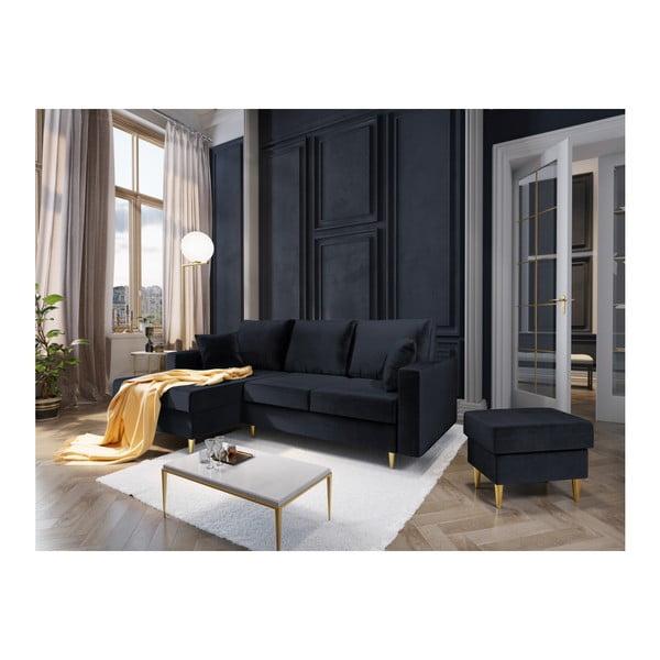 Ciemnoniebieska 4-osobowa sofa rozkładana Mazzini Sofas Muguet, lewostronna