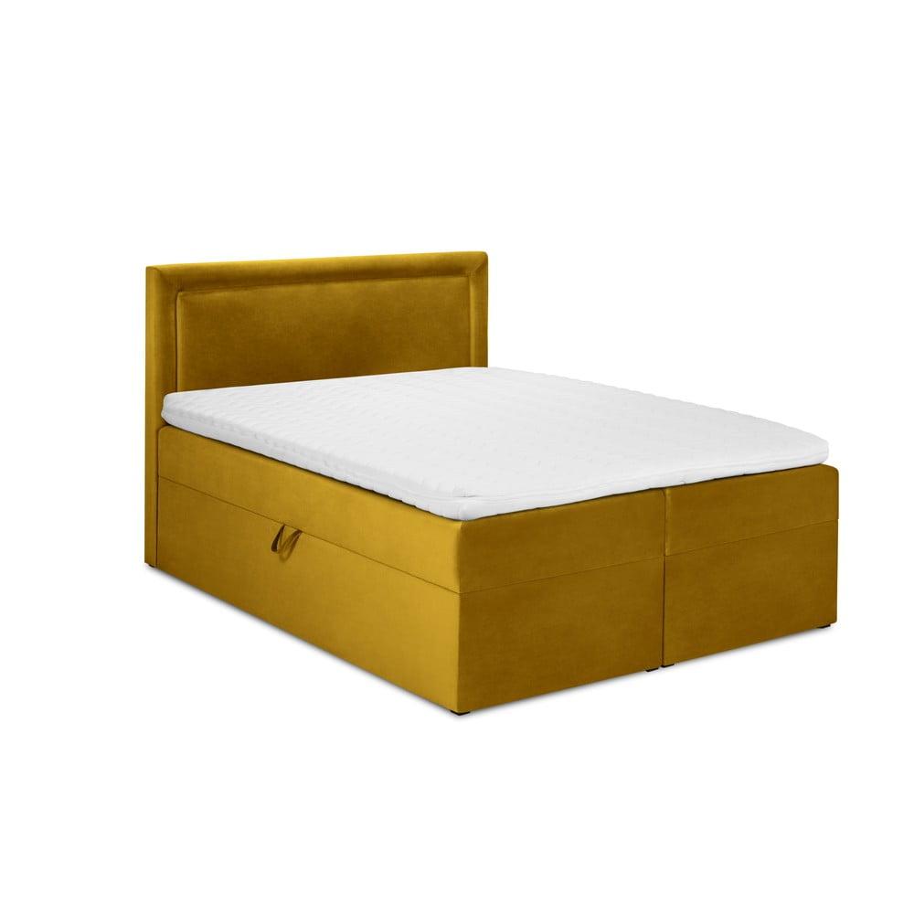Musztardowe aksamitne łóżko 2-osobowe Mazzini Beds Yucca, 160x200 cm