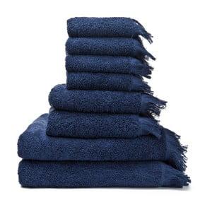 Zestaw 6 niebieskich ręczników bawełnianych i 2 ręczników kąpielowych Casa Di Bassi Bath