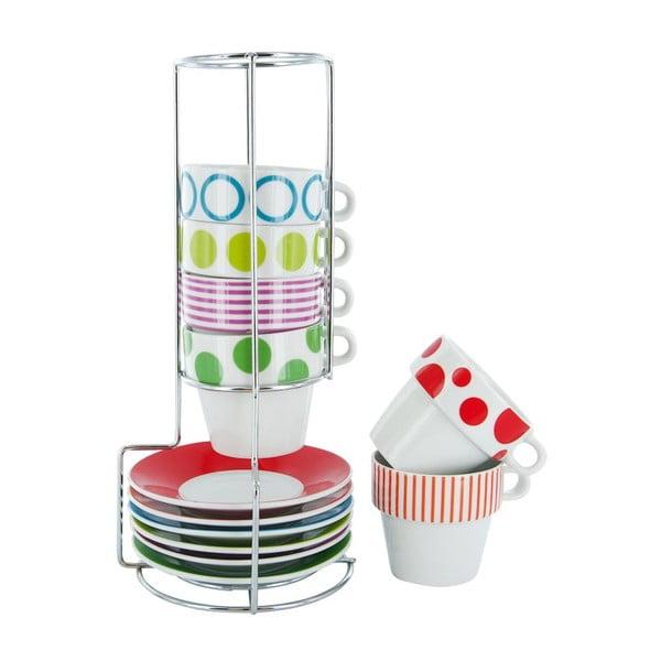Zestaw 6 kubków na stojaku Espresso Dots & Stripes