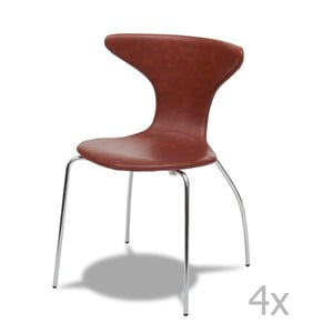 Zestaw 4 jasnobrązowych krzeseł Knuds Suki