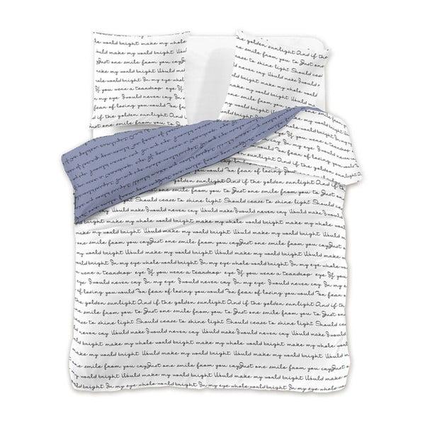 Szaro-biała pościel jednoosobowa z mikrowłókna DecoKing Nightime Tales, 140x200 cm