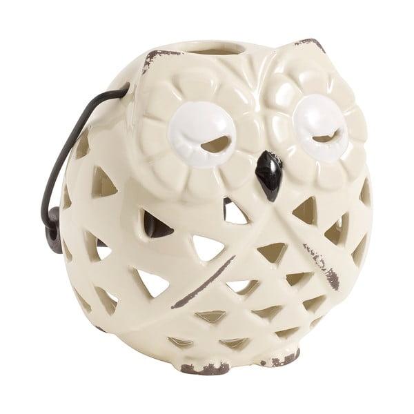 Świecznik ceramiczny Owl, kremowy