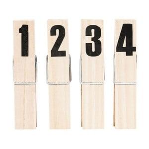 Zestaw 4 klamerek z numerkami HouseDoctor Clip