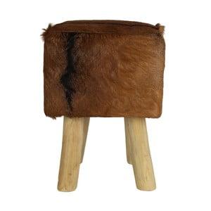 Stołek z drewna tekowego pokryty skórą HSM Collection Goat