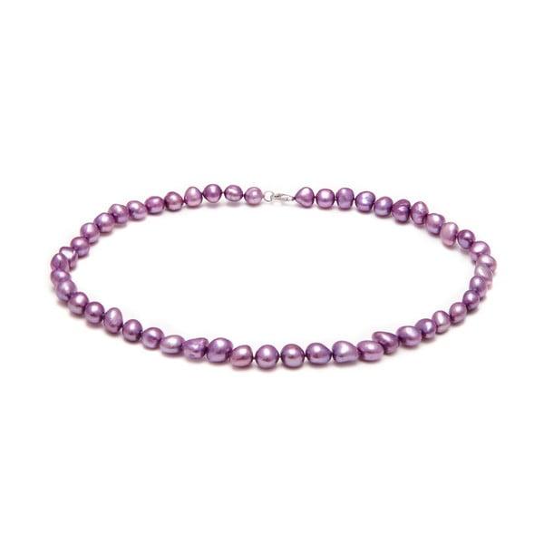 Naszyjnik z pereł słodkowodnych Baroque, fioletowy