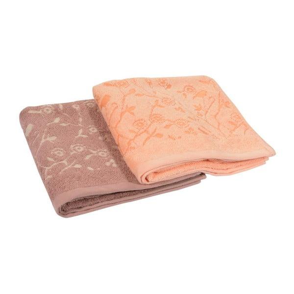 Komplet 2 ręczników Antenne Bistre/Couleur Peche, 50x90 cm