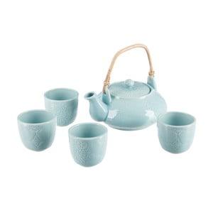 Dzbanek do herbaty z 4 kubkami J-Line Azu
