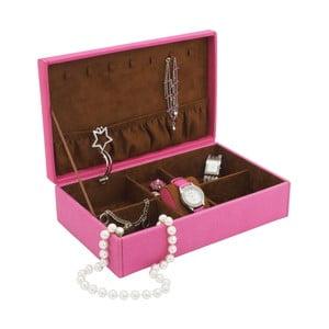 Różowa szkatułka na biżuterię Friedrich Lederwaren Baccara, 30x19 cm
