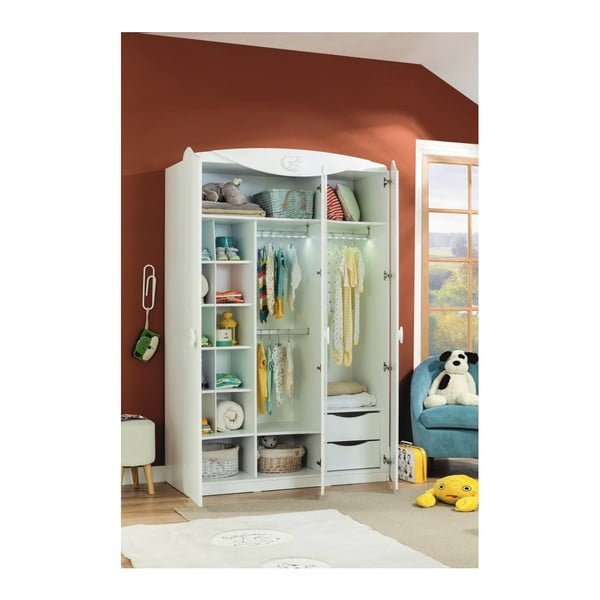 Biała szafa Baby Cotton SI 3 Doors Wardrobe
