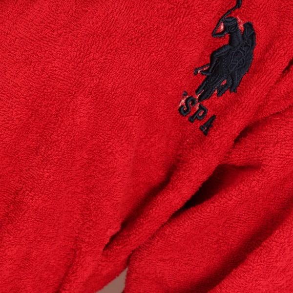 Zestaw damskiego szlafroka i 2 ręczników US Polo Lutsen Red, roz. L